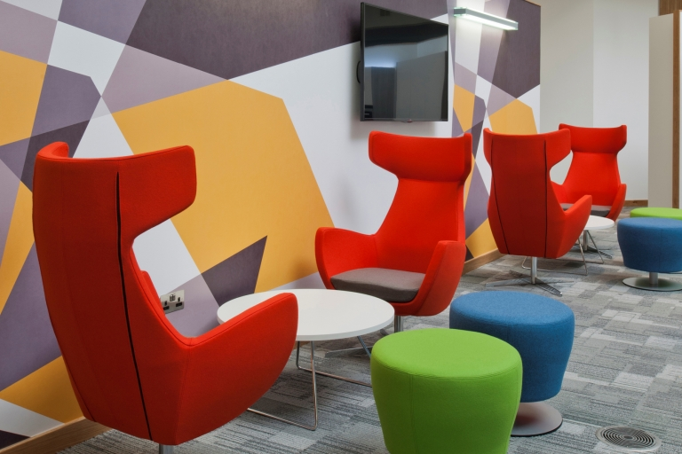 Colourful seating area